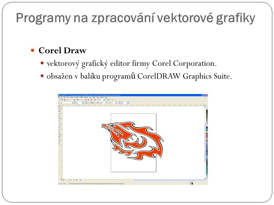  Corel Draw  vektorový grafický editor firmy Corel Corporation.  obsažen v balíku program ů CorelDRAW Graphics Suite. Programy na zpracování vektor