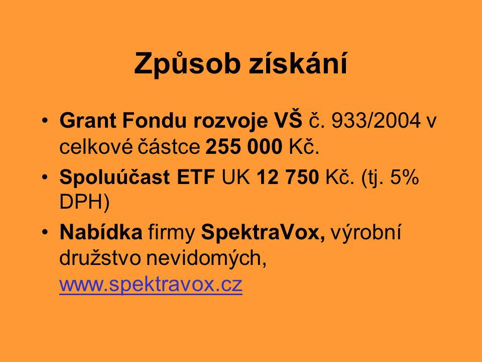 Způsob získání •Grant Fondu rozvoje VŠ č. 933/2004 v celkové částce 255 000 Kč. •Spoluúčast ETF UK 12 750 Kč. (tj. 5% DPH) •Nabídka firmy SpektraVox,