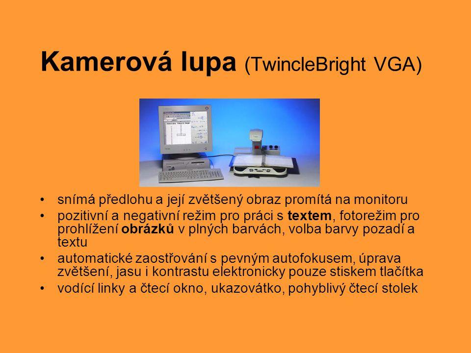 Braillský zobrazovač (BrailleVoyager 44) •Zobrazení textu z obrazovky počítače na bodové klávesnici v Braillově písmu •Lehký, přenosný, 44 znaků, 8 řídících kláves •Připojení přes USB port, SW na odečítání