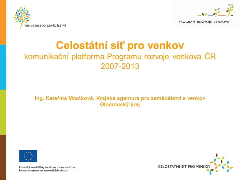 Obsah  Celostátní síť pro venkov (dále jen Síť) - základní legislativní rámec  Organizační struktura Sítě  Stručný přehled cílů a nástrojů Sítě  Příklady realizovaných projektů v roce 2009, 2010  Aktivity v roce 2011