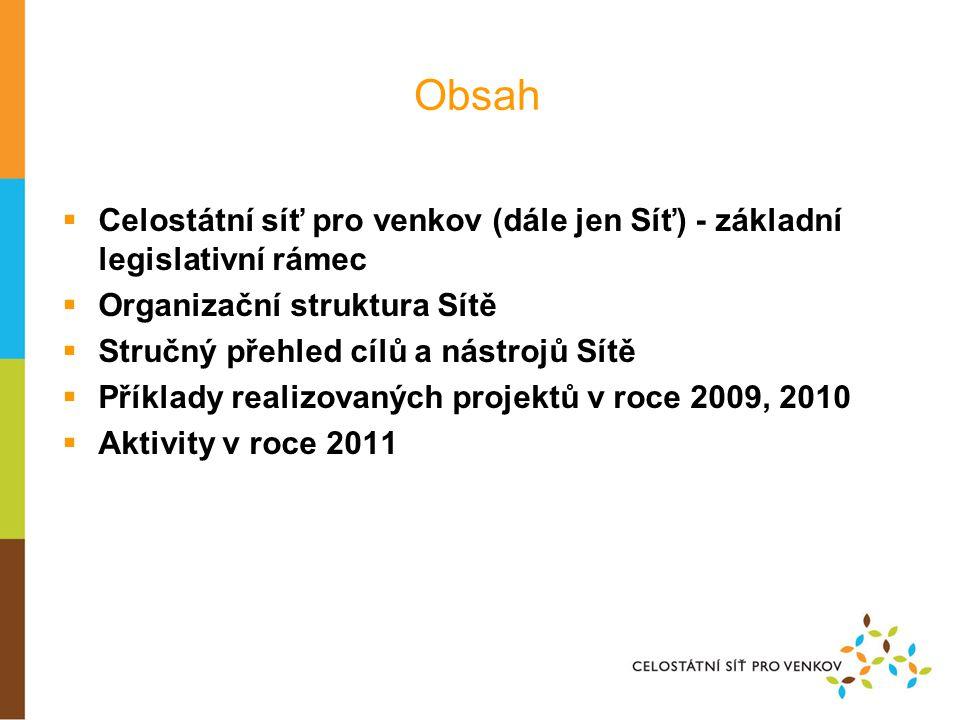 Celostátní síť pro venkov – základní legislativní rámec V souladu s nařízením Komise (ES) č.