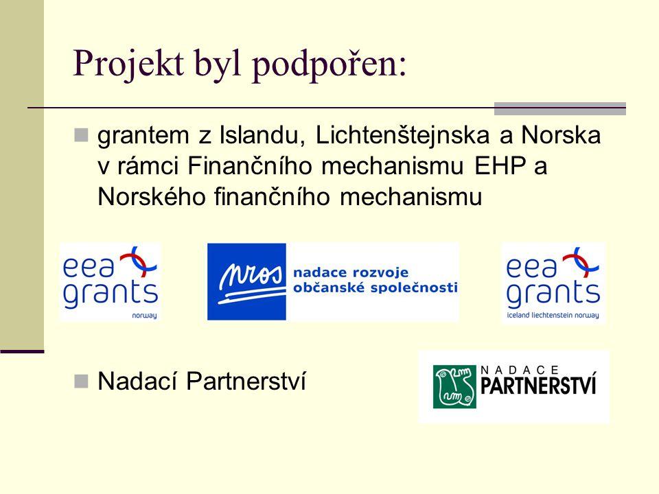 Projekt byl podpořen:  grantem z Islandu, Lichtenštejnska a Norska v rámci Finančního mechanismu EHP a Norského finančního mechanismu  Nadací Partnerství