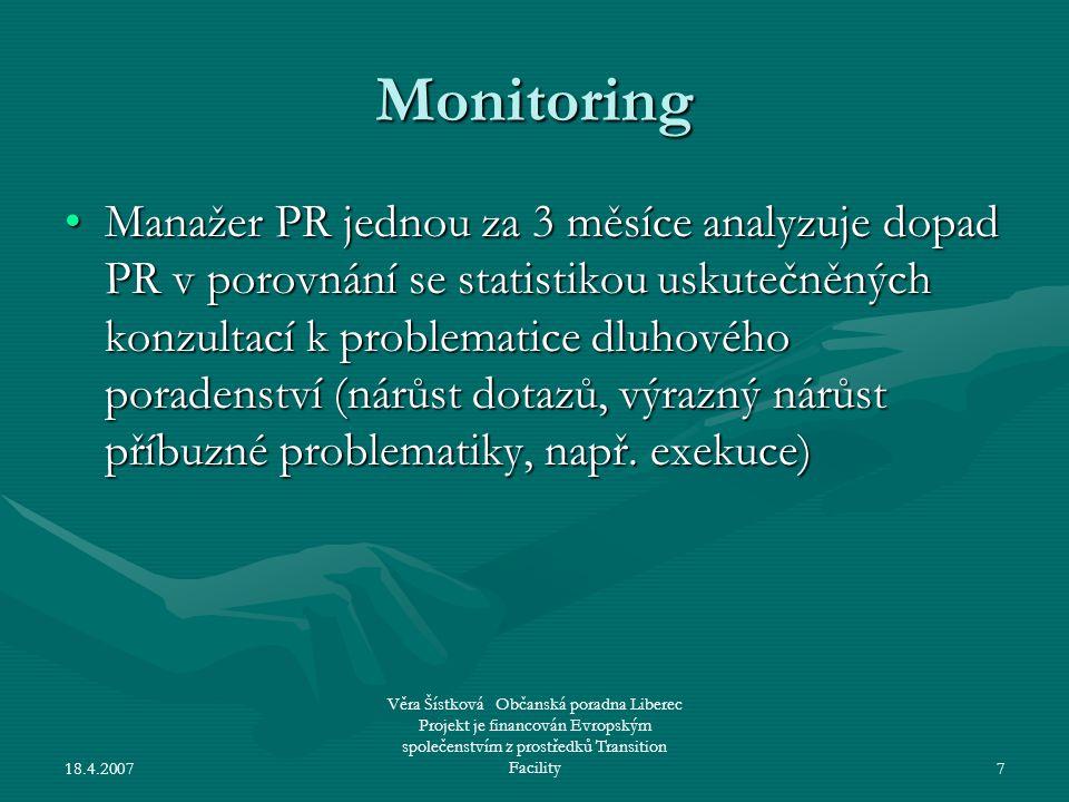 18.4.2007 Věra Šístková Občanská poradna Liberec Projekt je financován Evropským společenstvím z prostředků Transition Facility7 Monitoring •Manažer P
