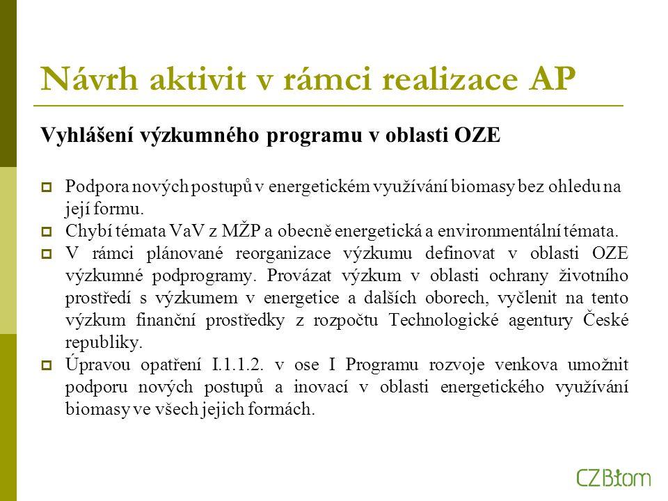 Návrh aktivit v rámci realizace AP Vyhlášení výzkumného programu v oblasti OZE  Podpora nových postupů v energetickém využívání biomasy bez ohledu na její formu.