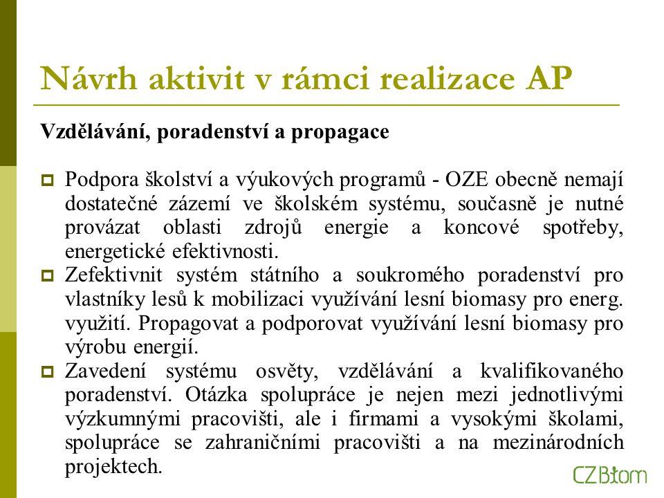 Návrh aktivit v rámci realizace AP Vzdělávání, poradenství a propagace  Podpora školství a výukových programů - OZE obecně nemají dostatečné zázemí ve školském systému, současně je nutné provázat oblasti zdrojů energie a koncové spotřeby, energetické efektivnosti.