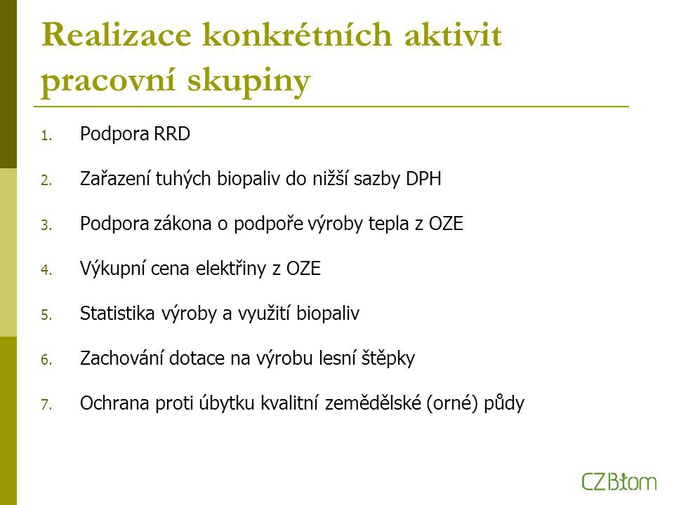 Realizace konkrétních aktivit pracovní skupiny 1. Podpora RRD 2.