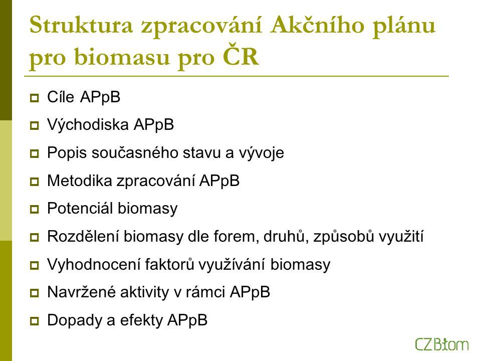 Struktura zpracování Akčního plánu pro biomasu pro ČR  Cíle APpB  Východiska APpB  Popis současného stavu a vývoje  Metodika zpracování APpB  Potenciál biomasy  Rozdělení biomasy dle forem, druhů, způsobů využití  Vyhodnocení faktorů využívání biomasy  Navržené aktivity v rámci APpB  Dopady a efekty APpB