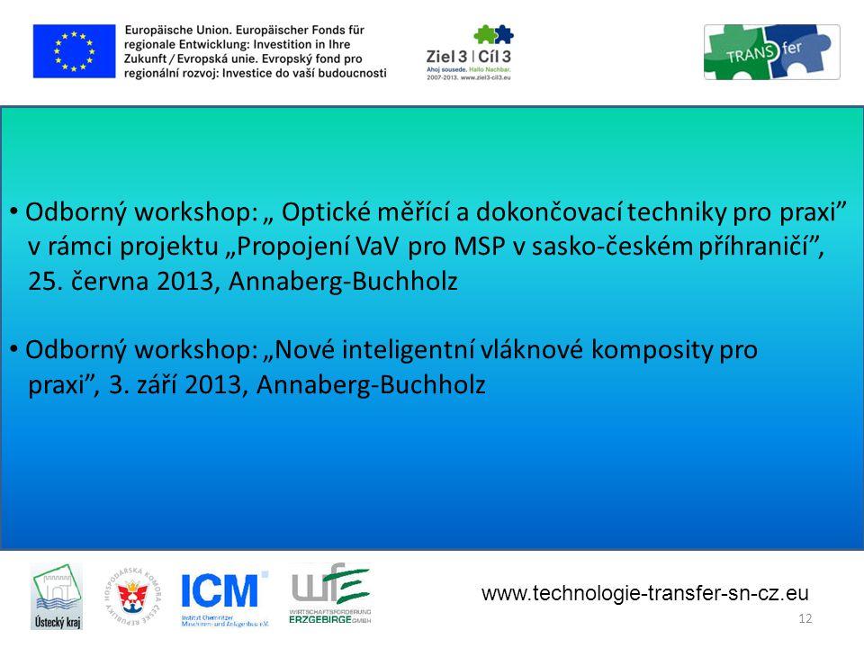 """• Odborný workshop: """" Optické měřící a dokončovací techniky pro praxi v rámci projektu """"Propojení VaV pro MSP v sasko-českém příhraničí , 25."""