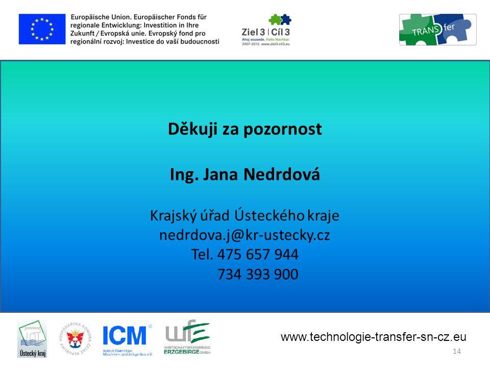 Děkuji za pozornost Ing.Jana Nedrdová Krajský úřad Ústeckého kraje nedrdova.j@kr-ustecky.cz Tel.