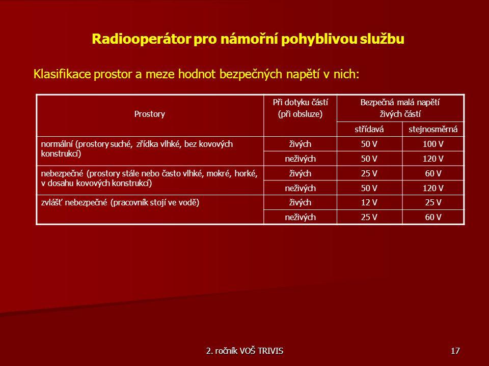 2. ročník VOŠ TRIVIS 17 Radiooperátor pro námořní pohyblivou službu Klasifikace prostor a meze hodnot bezpečných napětí v nich: Prostory Při dotyku čá