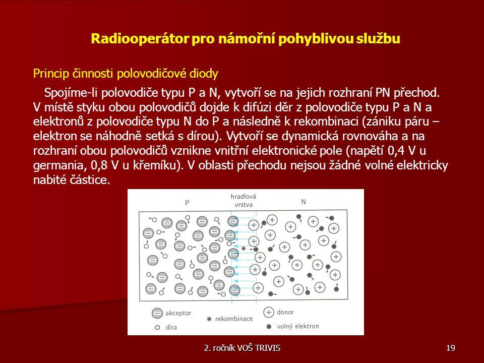 2. ročník VOŠ TRIVIS 19 Radiooperátor pro námořní pohyblivou službu Princip činnosti polovodičové diody Spojíme-li polovodiče typu P a N, vytvoří se n