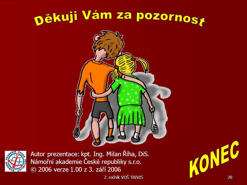 2. ročník VOŠ TRIVIS 20 Autor prezentace: kpt. Ing. Milan Říha, DiS. Námořní akademie České republiky s.r.o. © 2006 verze 1.00 z 3. září 2006