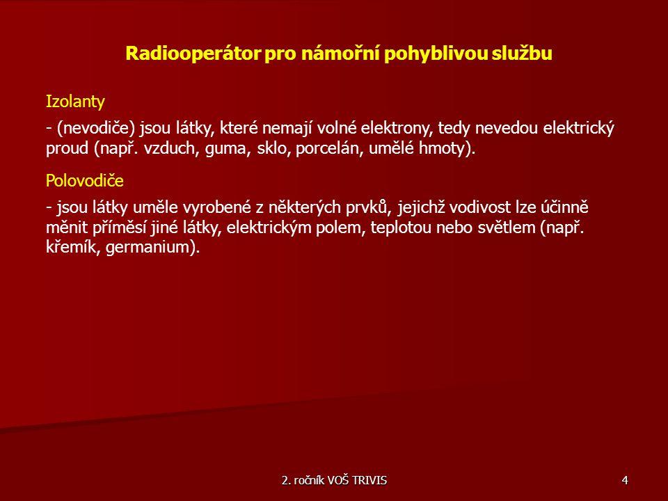 2. ročník VOŠ TRIVIS 4 Radiooperátor pro námořní pohyblivou službu Izolanty - (nevodiče) jsou látky, které nemají volné elektrony, tedy nevedou elektr
