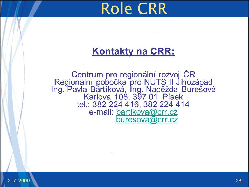 2. 7. 200928 Role CRR Kontakty na CRR: Centrum pro regionální rozvoj ČR Regionální pobočka pro NUTS II Jihozápad Ing. Pavla Bártíková, Ing. Naděžda Bu