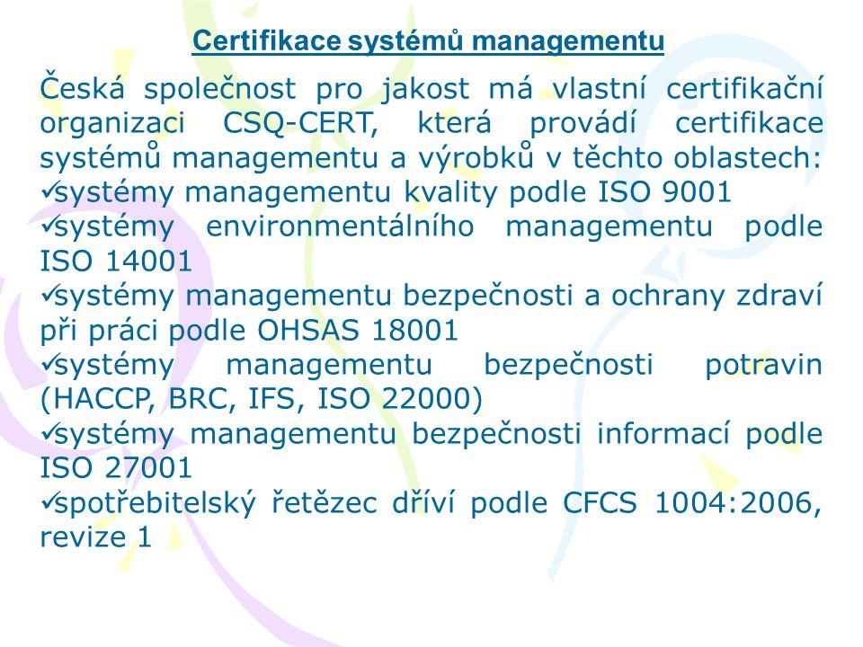 Certifikace systémů managementu Česká společnost pro jakost má vlastní certifikační organizaci CSQ-CERT, která provádí certifikace systémů managementu