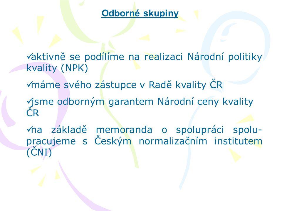 Odborné skupiny  aktivně se podílíme na realizaci Národní politiky kvality (NPK)  máme svého zástupce v Radě kvality ČR  jsme odborným garantem Nár