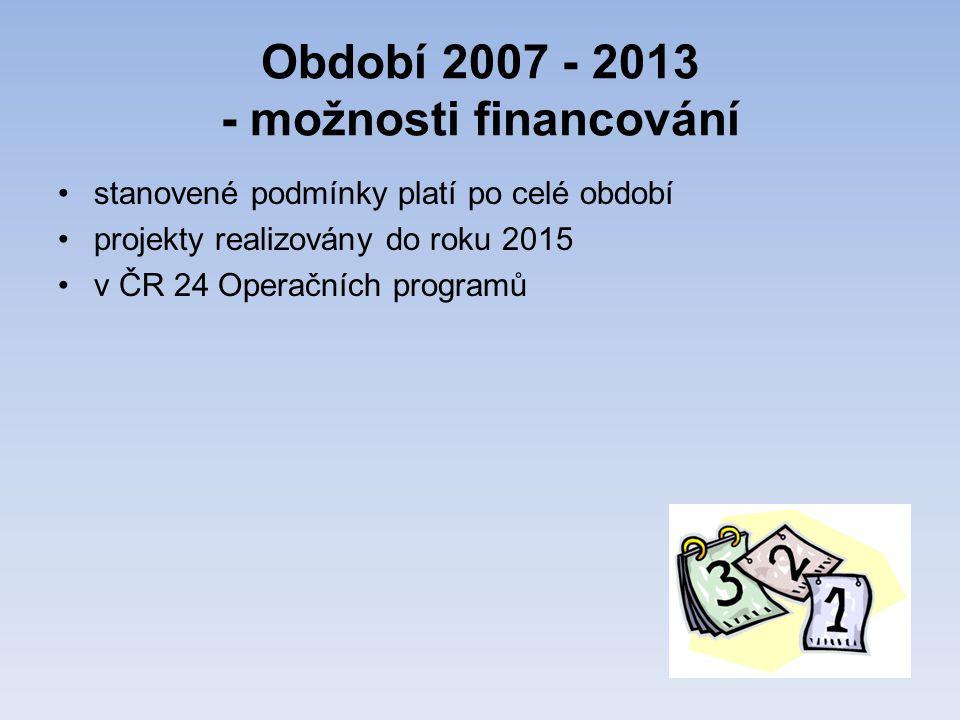 Období 2007 - 2013 - možnosti financování •stanovené podmínky platí po celé období •projekty realizovány do roku 2015 •v ČR 24 Operačních programů