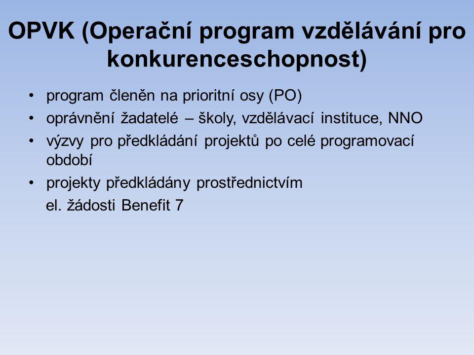 OPVK (Operační program vzdělávání pro konkurenceschopnost) •program členěn na prioritní osy (PO) •oprávnění žadatelé – školy, vzdělávací instituce, NNO •výzvy pro předkládání projektů po celé programovací období •projekty předkládány prostřednictvím el.