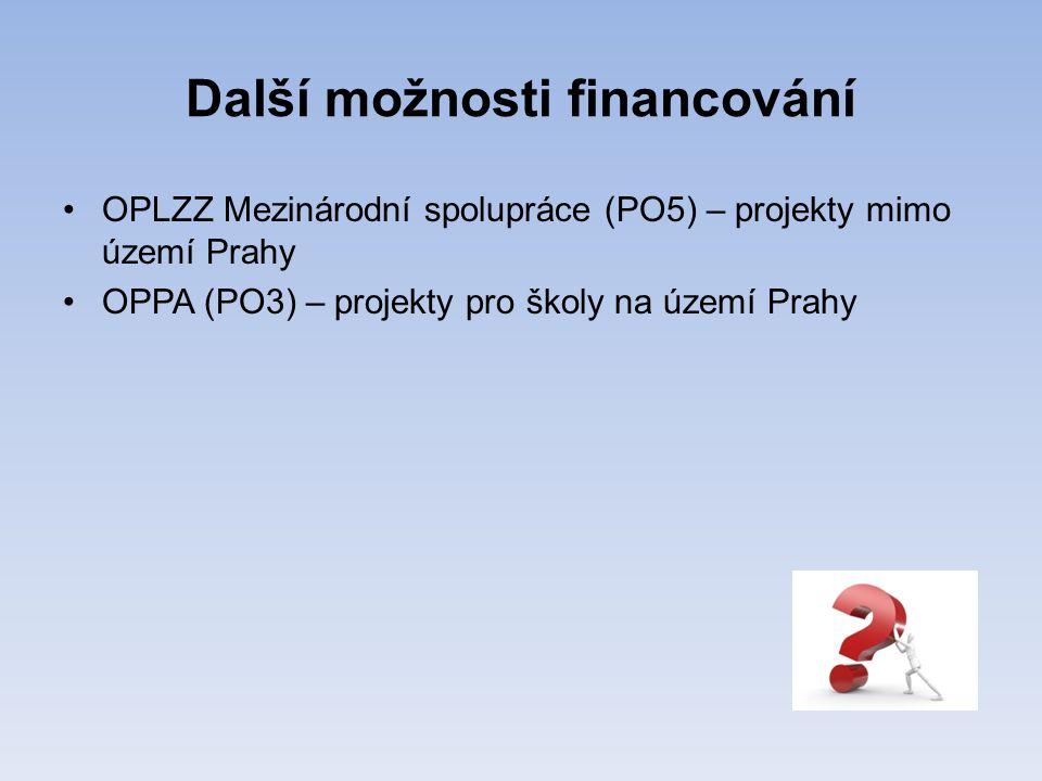 Další možnosti financování •OPLZZ Mezinárodní spolupráce (PO5) – projekty mimo území Prahy •OPPA (PO3) – projekty pro školy na území Prahy