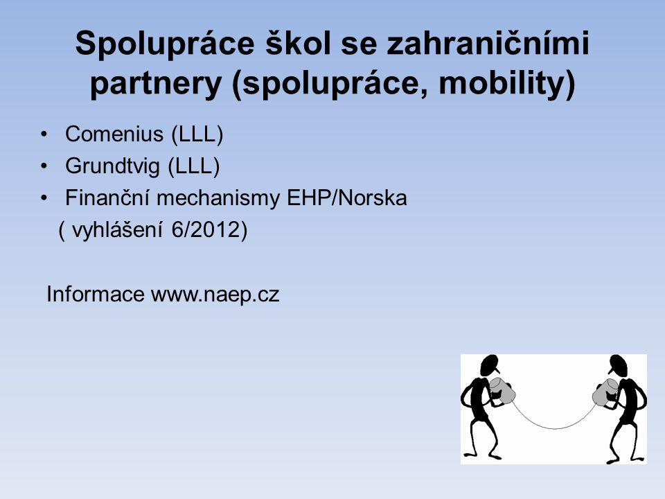 Spolupráce škol se zahraničními partnery (spolupráce, mobility) •Comenius (LLL) •Grundtvig (LLL) •Finanční mechanismy EHP/Norska ( vyhlášení 6/2012) Informace www.naep.cz