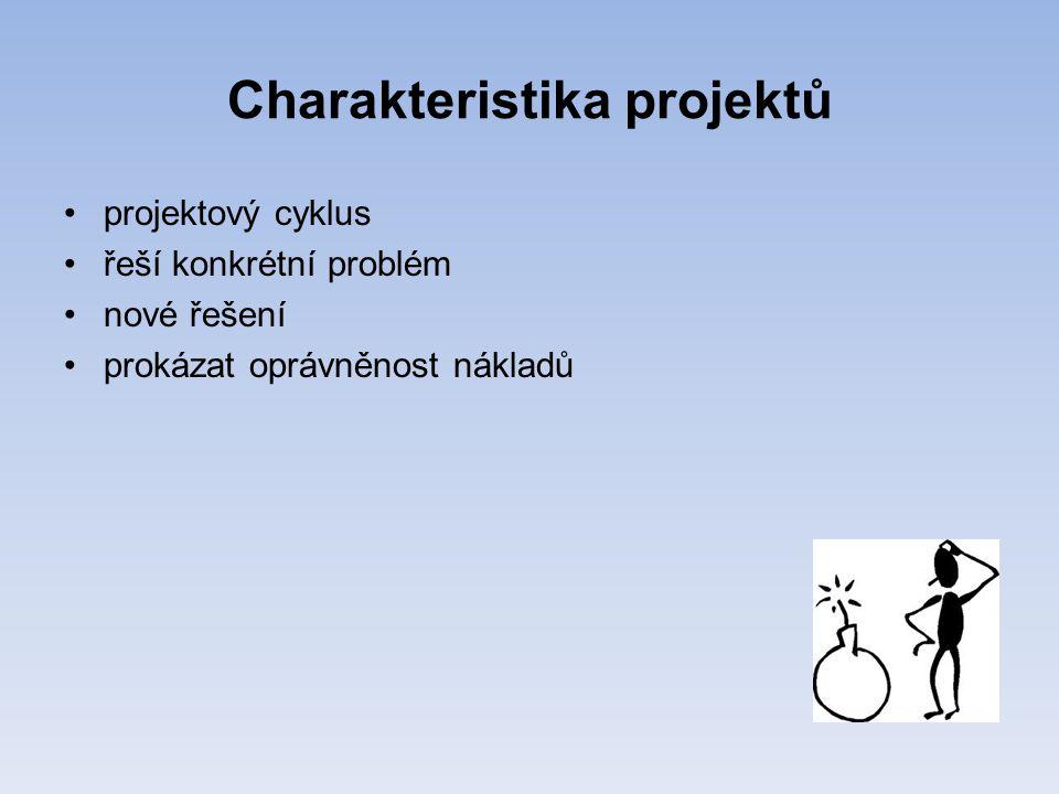 Charakteristika projektů •projektový cyklus •řeší konkrétní problém •nové řešení •prokázat oprávněnost nákladů