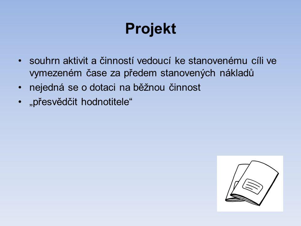 """Projekt •souhrn aktivit a činností vedoucí ke stanovenému cíli ve vymezeném čase za předem stanovených nákladů •nejedná se o dotaci na běžnou činnost •""""přesvědčit hodnotitele"""