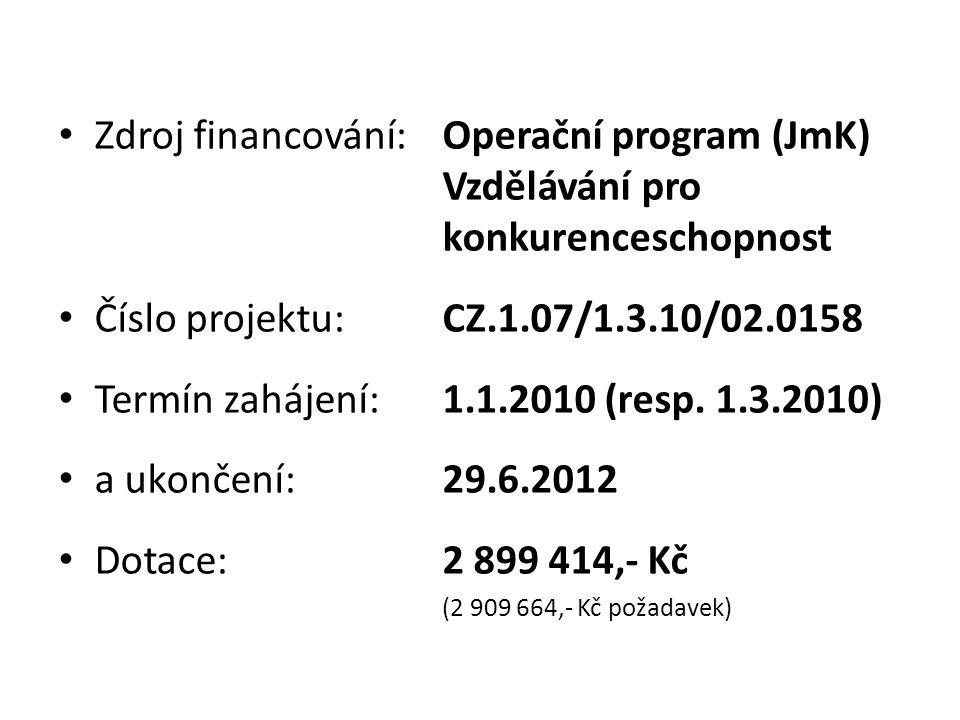 • Zdroj financování:Operační program (JmK) Vzdělávání pro konkurenceschopnost • Číslo projektu: CZ.1.07/1.3.10/02.0158 • Termín zahájení:1.1.2010 (res