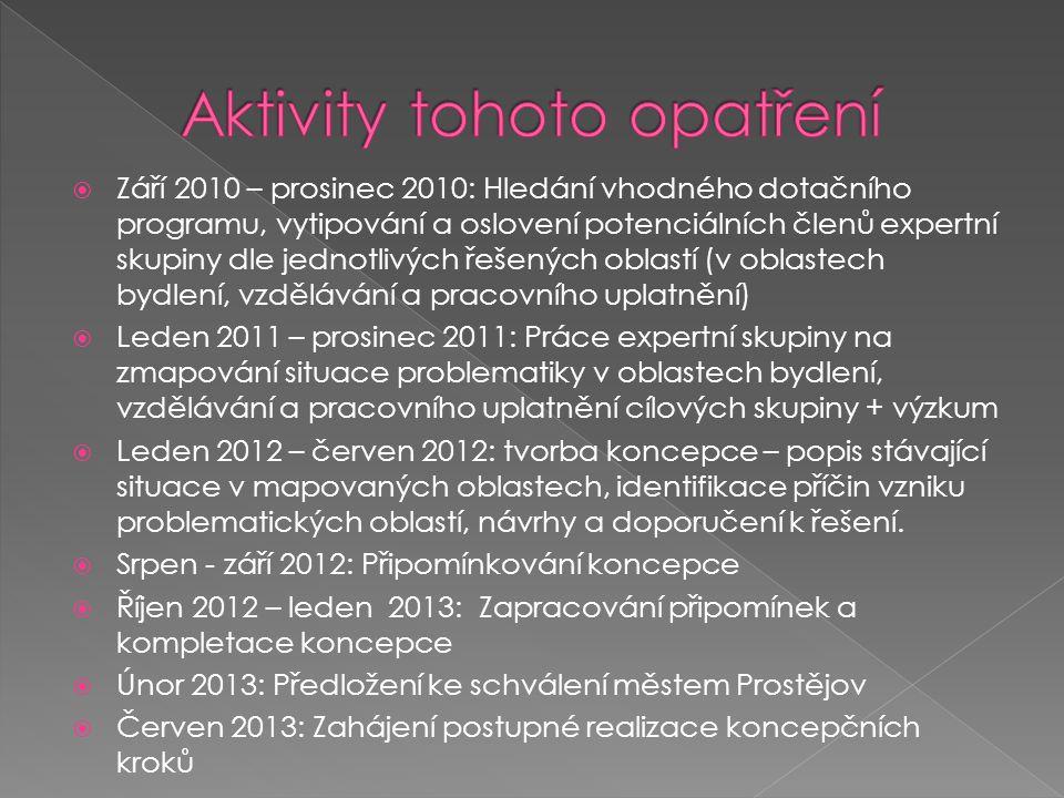  Září 2010 – prosinec 2010: Hledání vhodného dotačního programu, vytipování a oslovení potenciálních členů expertní skupiny dle jednotlivých řešených oblastí (v oblastech bydlení, vzdělávání a pracovního uplatnění)  Leden 2011 – prosinec 2011: Práce expertní skupiny na zmapování situace problematiky v oblastech bydlení, vzdělávání a pracovního uplatnění cílových skupiny + výzkum  Leden 2012 – červen 2012: tvorba koncepce – popis stávající situace v mapovaných oblastech, identifikace příčin vzniku problematických oblastí, návrhy a doporučení k řešení.