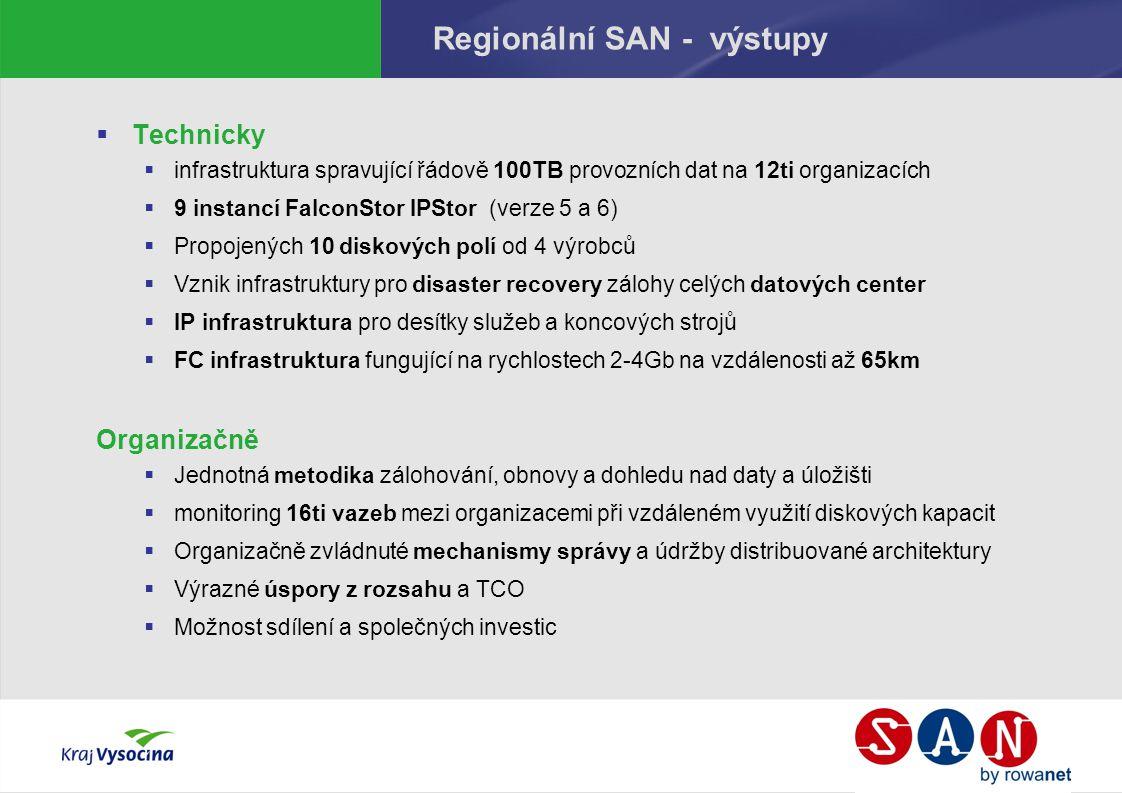 Regionální SAN - výstupy  Technicky  infrastruktura spravující řádově 100TB provozních dat na 12ti organizacích  9 instancí FalconStor IPStor (verz