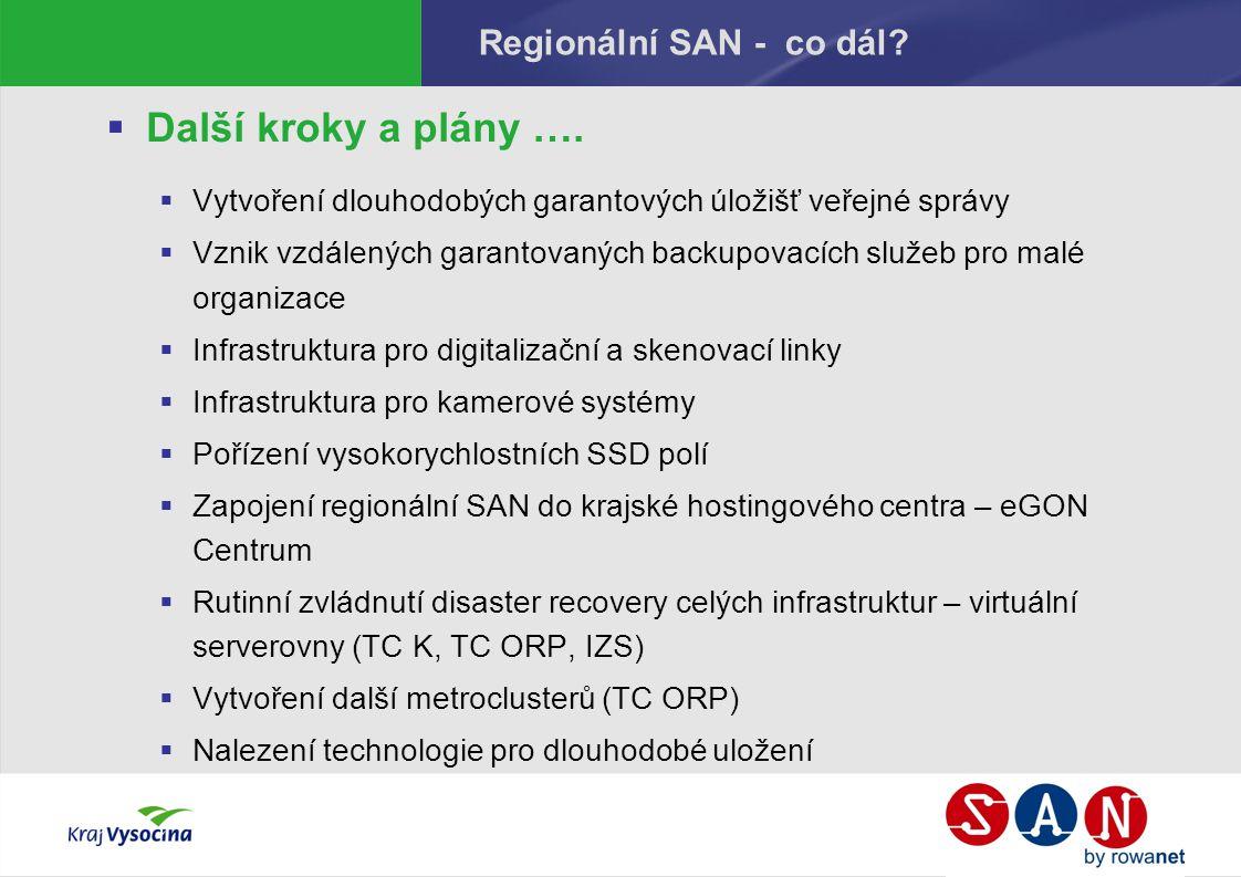 Regionální SAN - co dál?  Další kroky a plány ….  Vytvoření dlouhodobých garantových úložišť veřejné správy  Vznik vzdálených garantovaných backupo