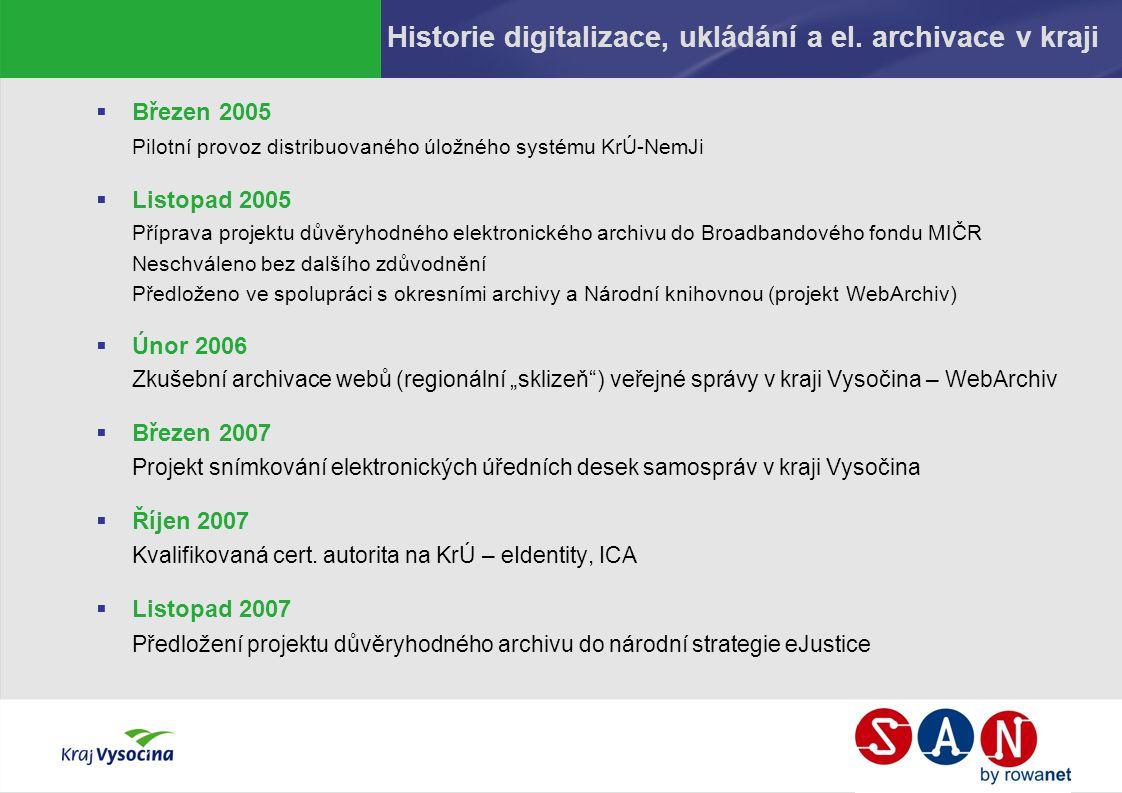 Historie digitalizace, ukládání a el. archivace v kraji  Březen 2005 Pilotní provoz distribuovaného úložného systému KrÚ-NemJi  Listopad 2005 Přípra