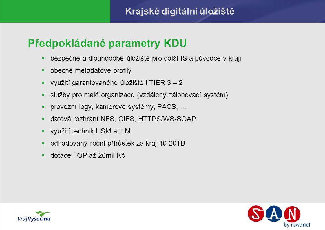 Krajské digitální úložiště Předpokládané parametry KDU  bezpečné a dlouhodobé úložiště pro další IS a původce v kraji  obecné metadatové profily  v