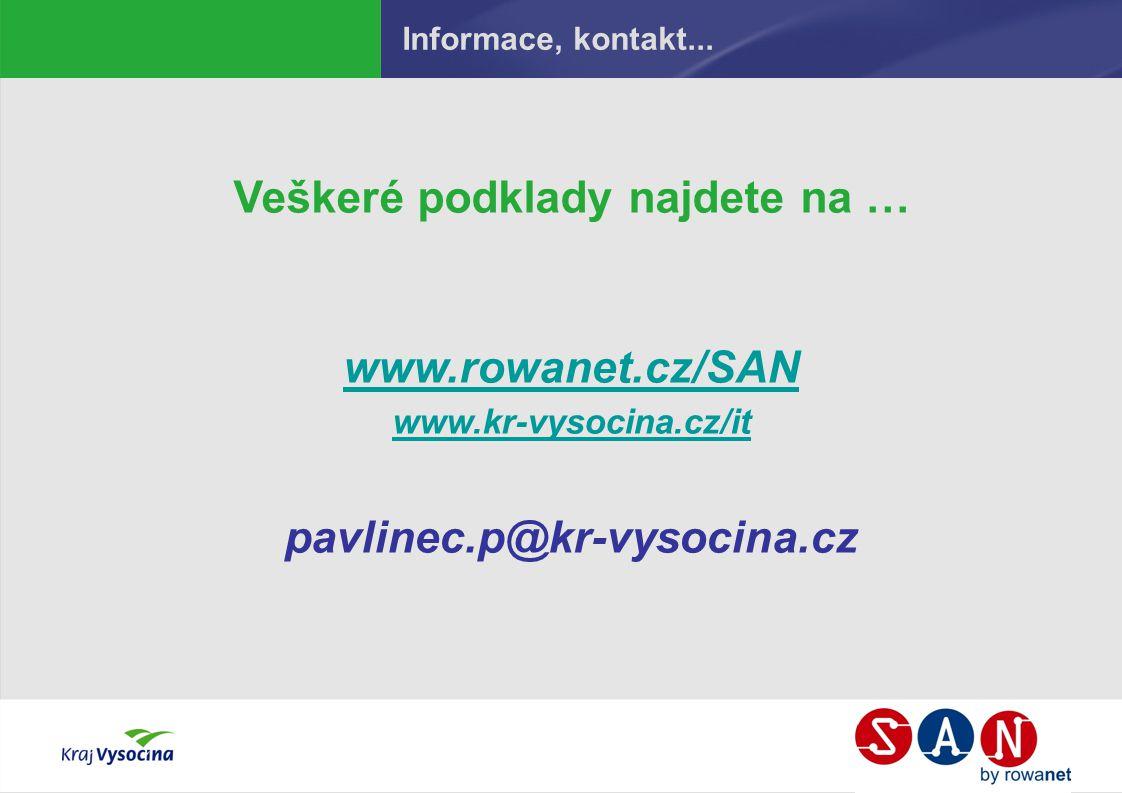 Informace, kontakt... Veškeré podklady najdete na … www.rowanet.cz/SAN www.kr-vysocina.cz/it pavlinec.p@kr-vysocina.cz