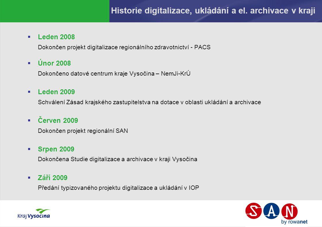 Historie digitalizace, ukládání a el. archivace v kraji  Leden 2008 Dokončen projekt digitalizace regionálního zdravotnictví - PACS  Únor 2008 Dokon