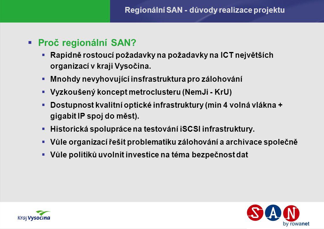 Regionální SAN - důvody realizace projektu  Proč regionální SAN?  Rapidně rostoucí požadavky na požadavky na ICT největších organizací v kraji Vysoč