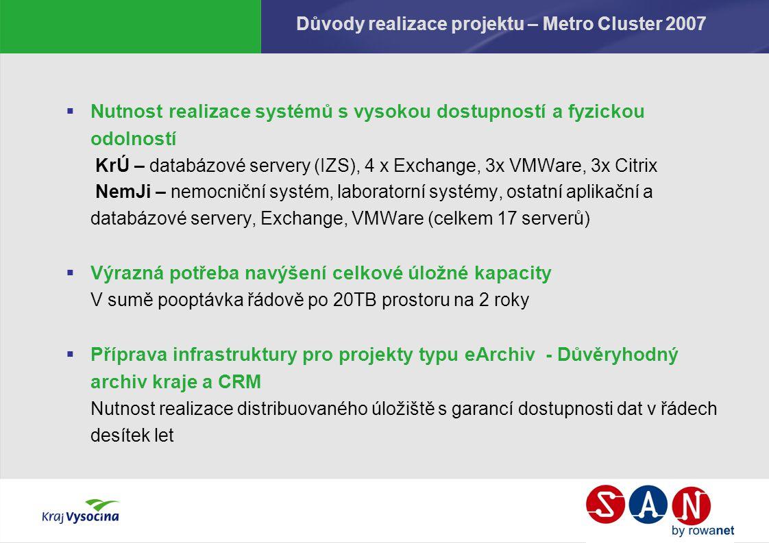 Důvody realizace projektu – Metro Cluster 2007  Nutnost realizace systémů s vysokou dostupností a fyzickou odolností KrÚ – databázové servery (IZS),