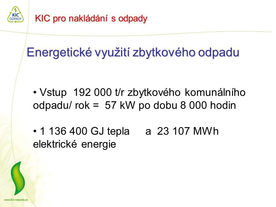 KIC pro nakládání s odpady Energetické využití zbytkového odpadu • Vstup 192 000 t/r zbytkového komunálního odpadu/ rok = 57 kW po dobu 8 000 hodin •