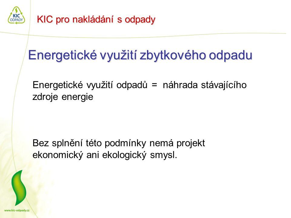 KIC pro nakládání s odpady Energetické využití zbytkového odpadu Energetické využití odpadů = náhrada stávajícího zdroje energie Bez splnění této podm