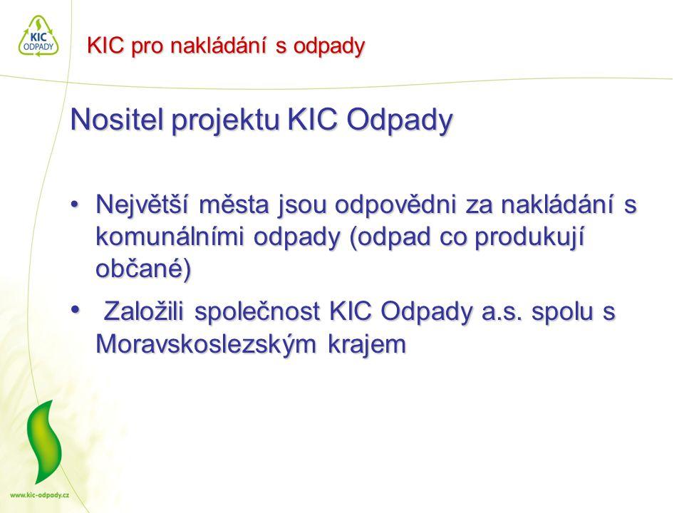 KIC pro nakládání s odpady Nositel projektu KIC Odpady •Největší města jsou odpovědni za nakládání s komunálními odpady (odpad co produkují občané) •