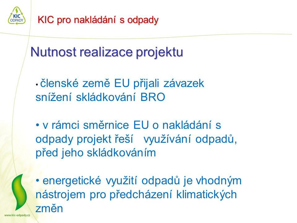 KIC pro nakládání s odpady Nutnost realizace projektu • členské země EU přijali závazek snížení skládkování BRO • v rámci směrnice EU o nakládání s od