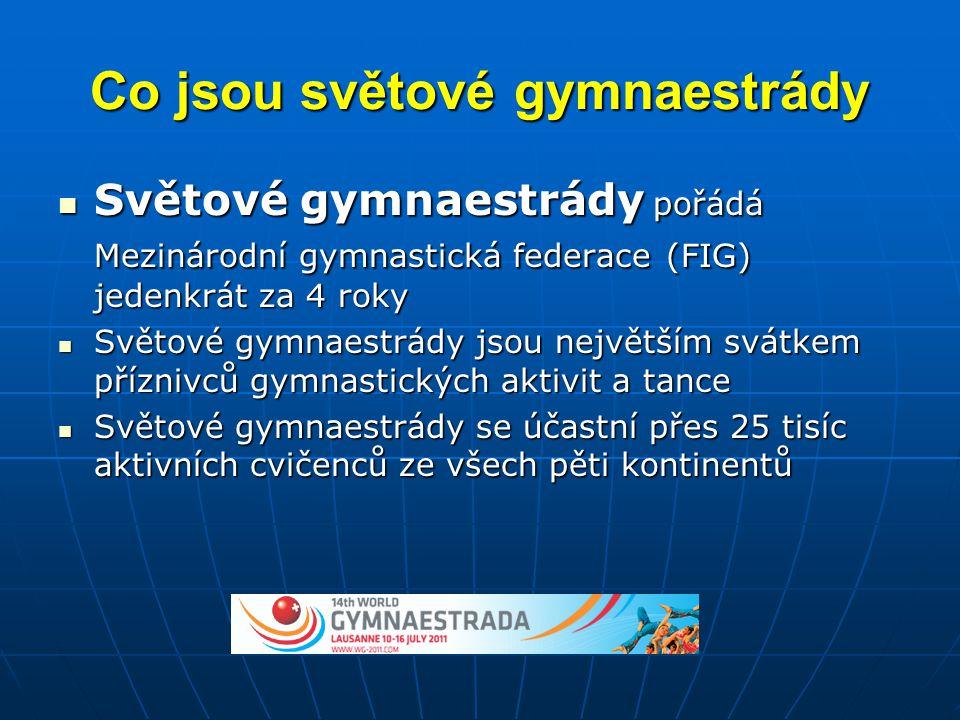 Co jsou světové gymnaestrády  Světové gymnaestrády pořádá Mezinárodní gymnastická federace (FIG) jedenkrát za 4 roky  Světové gymnaestrády jsou nejv