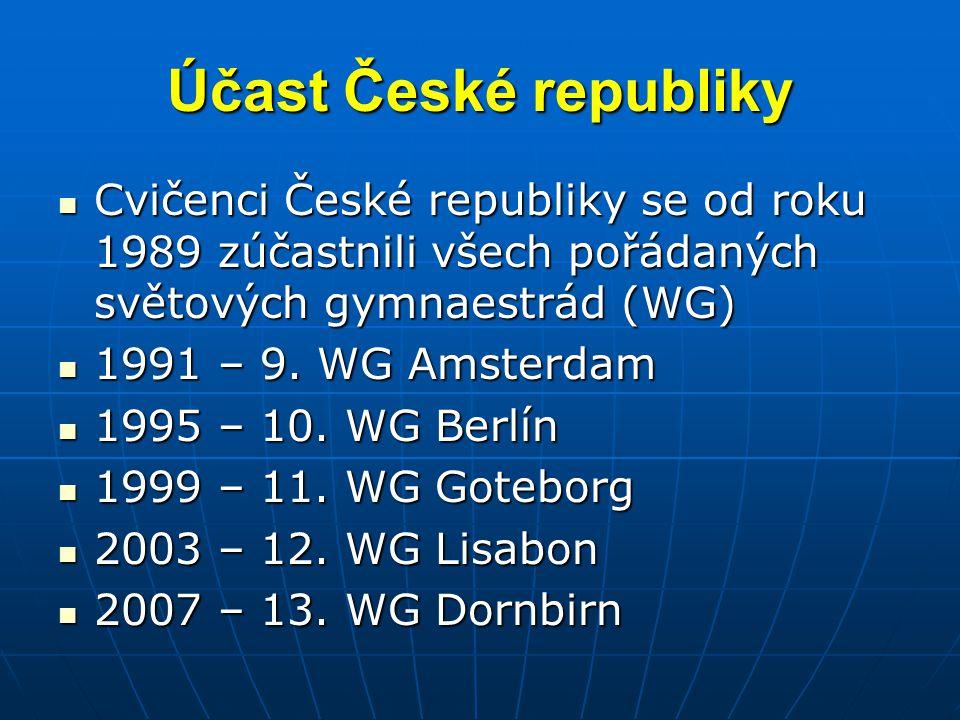 Účast České republiky  Cvičenci České republiky se od roku 1989 zúčastnili všech pořádaných světových gymnaestrád (WG)  1991 – 9. WG Amsterdam  199