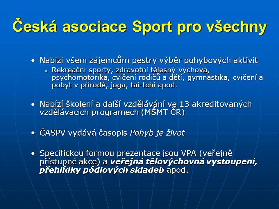 Česká asociace Sport pro všechny •Nabízí všem zájemcům pestrý výběr pohybových aktivit  Rekreační sporty, zdravotní tělesný výchova, psychomotorika,