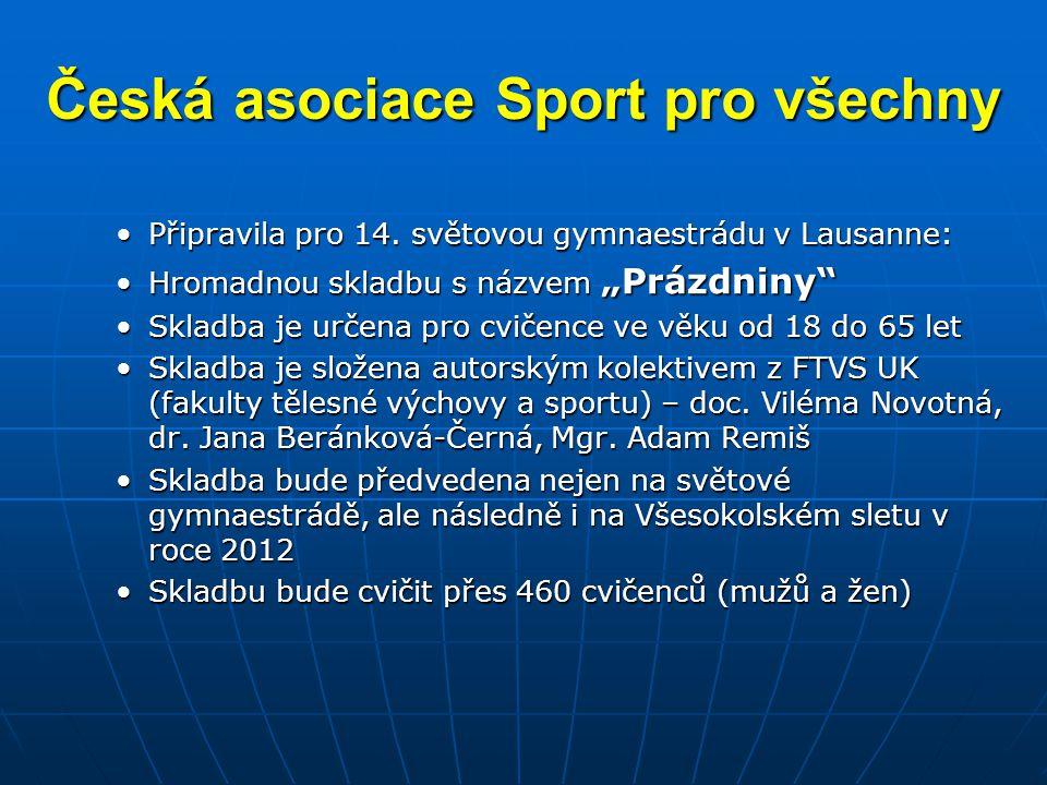 """Česká asociace Sport pro všechny •Připravila pro 14. světovou gymnaestrádu v Lausanne: •Hromadnou skladbu s názvem """"Prázdniny"""" •Skladba je určena pro"""