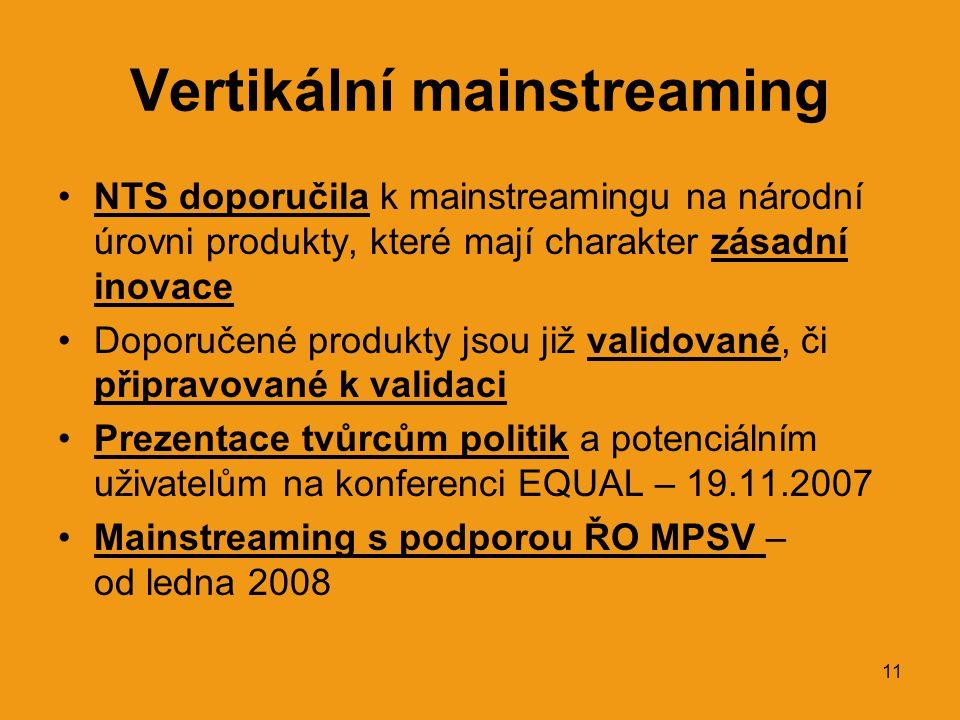 11 Vertikální mainstreaming •NTS doporučila k mainstreamingu na národní úrovni produkty, které mají charakter zásadní inovace •Doporučené produkty jsou již validované, či připravované k validaci •Prezentace tvůrcům politik a potenciálním uživatelům na konferenci EQUAL – 19.11.2007 •Mainstreaming s podporou ŘO MPSV – od ledna 2008