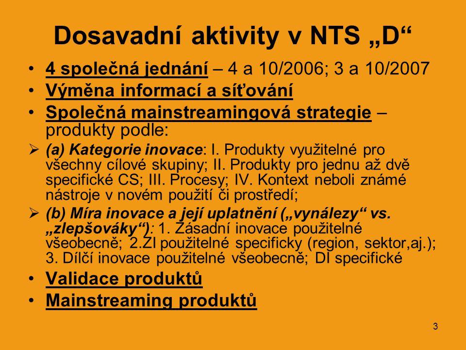 """3 Dosavadní aktivity v NTS """"D •4 společná jednání – 4 a 10/2006; 3 a 10/2007 •Výměna informací a síťování •Společná mainstreamingová strategie – produkty podle:  (a) Kategorie inovace: I."""