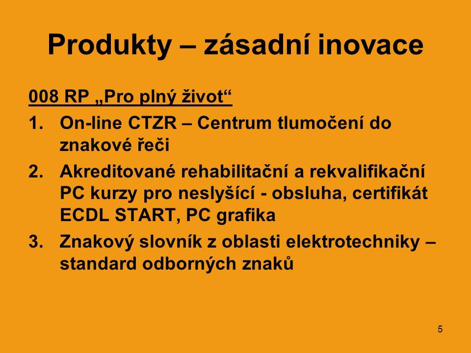 """5 Produkty – zásadní inovace 008 RP """"Pro plný život 1.On-line CTZR – Centrum tlumočení do znakové řeči 2.Akreditované rehabilitační a rekvalifikační PC kurzy pro neslyšící - obsluha, certifikát ECDL START, PC grafika 3.Znakový slovník z oblasti elektrotechniky – standard odborných znaků"""