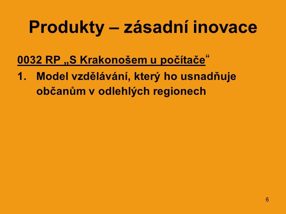 """6 Produkty – zásadní inovace 0032 RP """"S Krakonošem u počítače """" 1.Model vzdělávání, který ho usnadňuje občanům v odlehlých regionech"""