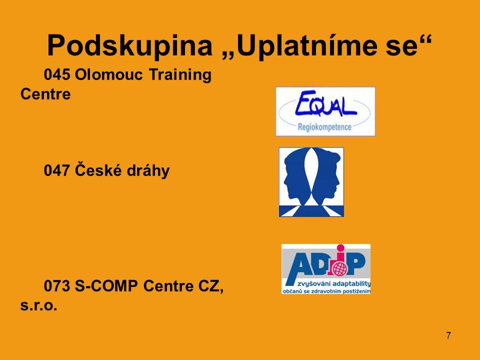 """7 Podskupina """"Uplatníme se 045 Olomouc Training Centre 047 České dráhy 073 S-COMP Centre CZ, s.r.o."""