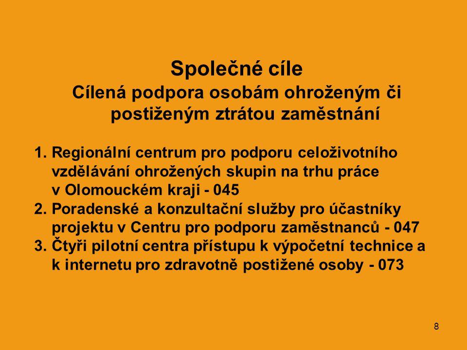 8 Společné cíle Cílená podpora osobám ohroženým či postiženým ztrátou zaměstnání 1.Regionální centrum pro podporu celoživotního vzdělávání ohrožených skupin na trhu práce v Olomouckém kraji - 045 2.Poradenské a konzultační služby pro účastníky projektu v Centru pro podporu zaměstnanců - 047 3.Čtyři pilotní centra přístupu k výpočetní technice a k internetu pro zdravotně postižené osoby - 073